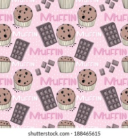 Sweet muffin pattern vector