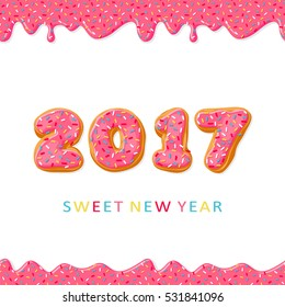 Sweet New Year 2017 from donuts. Donut's pink glaze.