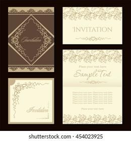 sweet nice beige cream colour vintage invitation design vector set