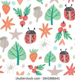 Sweet Nursery Seamless Pattern with Leaves, Berries and Ladybugs.