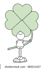 Sweet original hand drawn stock vector illustration of happy smiling boy holding a giant green four leave clover behind his back.