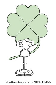 Sweet original hand drawn stock vector illustration of happy smiling girl holding a giant green four leave clover behind her back.
