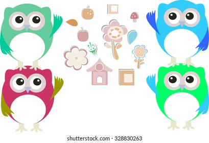 sweet owls and flowers vector