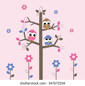 sweet owls sitting in a tree wall decoration or cover
