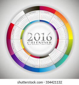 Sweet Paper Calendar 2016 in Circle composition. Original Template with rainbow colors elements