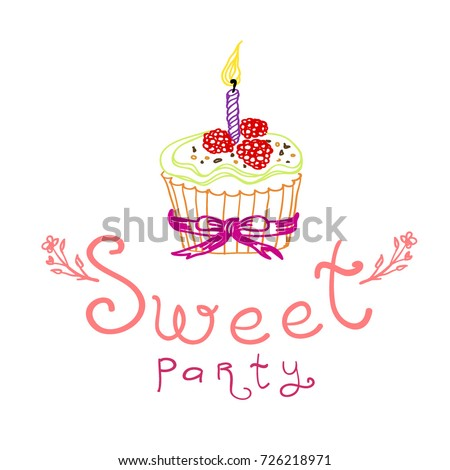 sweet party invitation card birthday party stock vector royalty