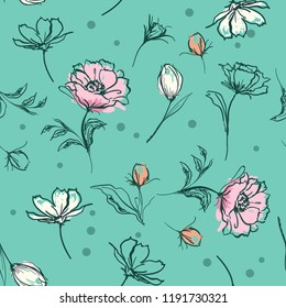 Sweet pastel  botanical flowers Hand brush strokes line sketch style. Vector seamless pattern illustration design for fashion,fabric ,and all prints on green mint background color