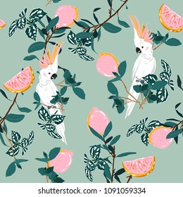 Sweet pastel forest print. Parrot bird in the jungle with lemon in the summer exotic wild life allover design, seamless pattern vector for fashion ,wallpaper and all prints on green mint
