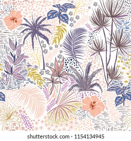 Sweet Pastel hand sketch seamless tropical dark summer forest pattern with colorful palm trees,leaves,exotic wild and plants vector in hand drawn style,for fashion ,fabric and all print on white
