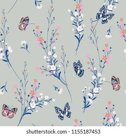 Sweet pastel Meadow flowers blowing in the wind with butterflies soft and gentle seamless pattern on vector design for fashion,fabric,wallpaper and all prints on light grey background.