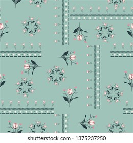 Sweet pasterl Seamless pattern vector Stylish white tulip flowers with line in bohemian scarf style design for fashion,fabric ,web,wallpaper and all pints on nude green mint background color