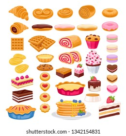 Sweet pastry icons set. Vector bakery products - french baguette, croissant, bagel, roll, cake, pie, cupcake, cookies eclair macaron madeleines mille-feuille