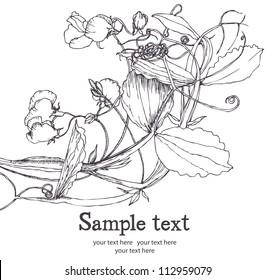 Sweet pea flower card