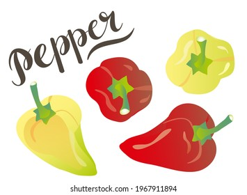 Sweet pepper for salad - yellow and red. Vector illustration on a white background. For cafes, restaurants and menus, logos and icons, farms and markets. Healthy and fresh food.