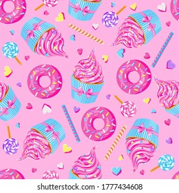 sweet pink fairy cupcakes with pink donuts, waffle, lollypops and sprinkles on pink background. Seamless pattern. Texture for fabric, wrapping, wallpaper. Decorative print.
