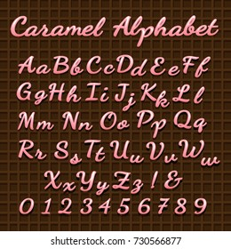 Sweet pink lettering font. Vector candy sweets cream alphabet letters