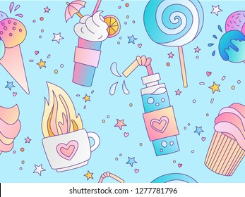 Sweet Positive little girl and princess seamless pattern. Repeatable pattern with hot tea, lolipop, ice cream and cake on blue background, sweet dessert cute seamless pattern. Fashion girl pattern on
