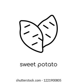 sweet potato icon. Trendy modern flat linear vector sweet potato icon on white background from thin line Fruit and vegetables collection, outline vector illustration