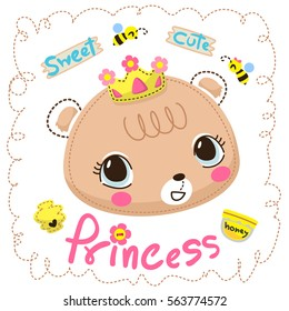 Sweet princess bear girl with little bees in dashed line border isolate on white background illustration vector.