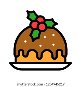 sweet pudding dessert Xmas filled editable outline icon.