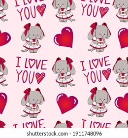 Sweet puppy with heart and love letter seamless pattern. Love theme. Suitable for textiles, packaging, wallpaper, etc. Objects isolated on background. Vector illustration.