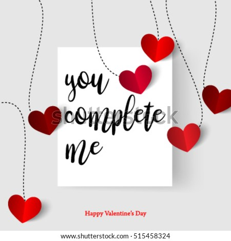 sweet quote hearts valentines day layout design stock vector