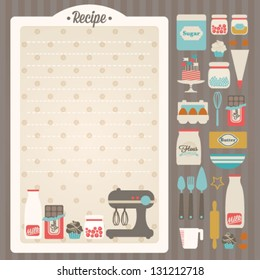 Sweet recipe vector card template + kitchen design elements