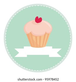 Sweet retro cupcake with heart on mint green background and white place for your own text. Button, flat design element, logo, sign, restaurant menu or invitation card - vector illustration