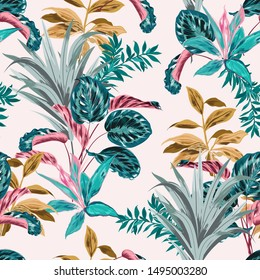 Sweet retro pastel mood seamless pattern of tropical forest with many kind of exotic plants and leaves in vector ,Design for fashion fabric,web,wallpaper,and all prints on light pink background color