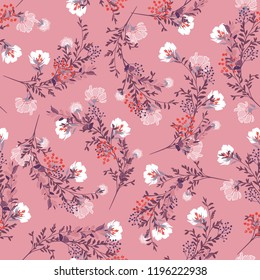Sweet Retro Seamless pattern ,blooming garden flowers in delicate botanical vector design for fashion,fabric,wallpaper and all prints on vintage nude pink background color