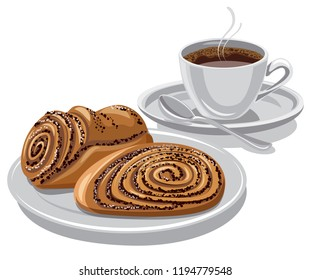 sweet rolls with poppy seeds with a coffee