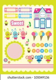 sweet scrapbook elements collection. vector illustration