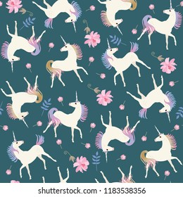 Sweet seamless pattern with cute unicorns and gentle pink flowers on emerald green color background in vector.