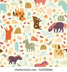 Sweet seamless pattern with  horses, clouds, bushes and flowers.