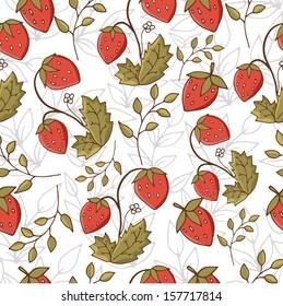 Sweet seamless vector strawberries