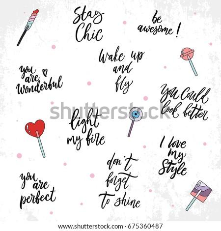 Quotes About Beauty   Sweet Set About Beauty Quotes Hand Stock Vektorgrafik Lizenzfrei