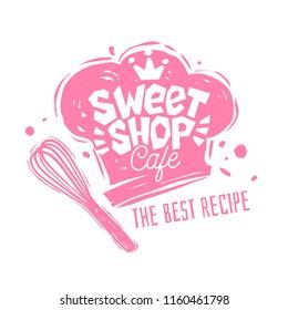 Sweet shop cafe logo label emblem design. The best recipe, chef hat, pink, crown. Hand drawn vector illustration.