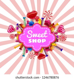 Sweet Shop Candy template set of different colors of candy, candy, sweets, chocolate candy, jelly beans. Background, poster, banner, vector, isolated, cartoon style