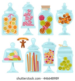Sweet shop. Glass jars of various forms with different candies. Vector illustration