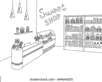Sweet shop graphic black white interior sketch illustration vector