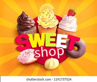 Sweet shop label. Promo background for desserts store. Vector illustration.