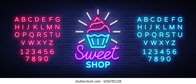 Sweet Shop logo is neon style. Candy Shop neon sign, banner light, bright neon night sweets advertising. Design template for your projects. Vector illustration. Editing text neon sign