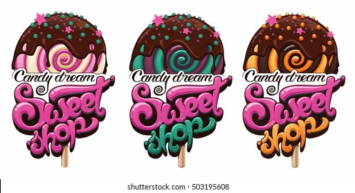 sweet shop logo set