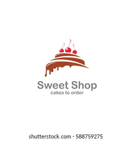 Sweet Shop logo template design vector. Illustration of cake with cherries.