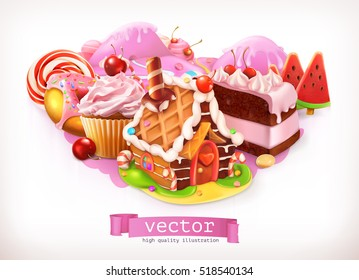 Sweet shop, pink. Confectionery and desserts, gingerbread house, cake, cupcake, candy. 3d vector illustration