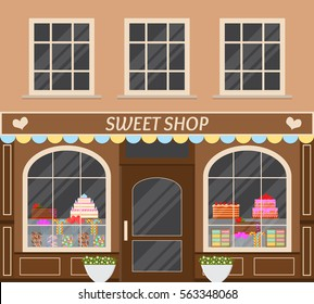 Sweet shop. Street stall of candy. Storefront. Flat style. Vintage architecture. Cakes, lollipops, Goodies. Vector illustration.