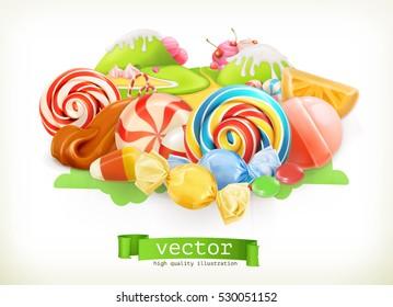 Sweet shop. Swirl candy, lollipop, caramel. Candy land. 3d vector illustration.