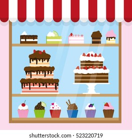 Sweet shop window with cakes, cupcakes and desserts