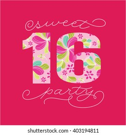 Sweet Sixteen, 16th Birthday Party Text - Vector
