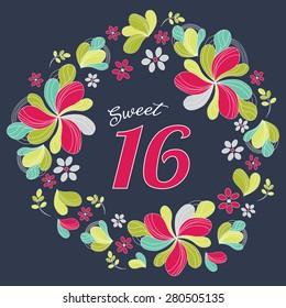 Sweet Sixteen Birthday Card Invitation Template - Vector